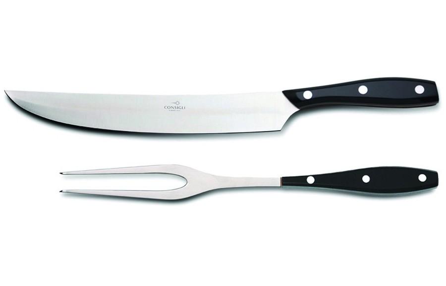 N. 52136 Leather Case Carving Knife & Fork - 1
