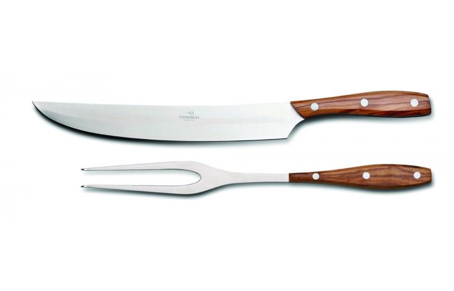 N. 52146 Leather Case Carving Knife & Fork - 1